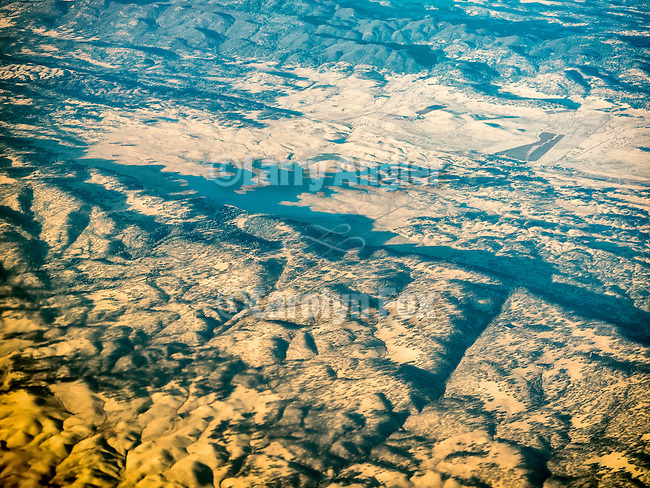 Salt Spring Reservoir, Calaveras County, Calif., from above in a window seat
