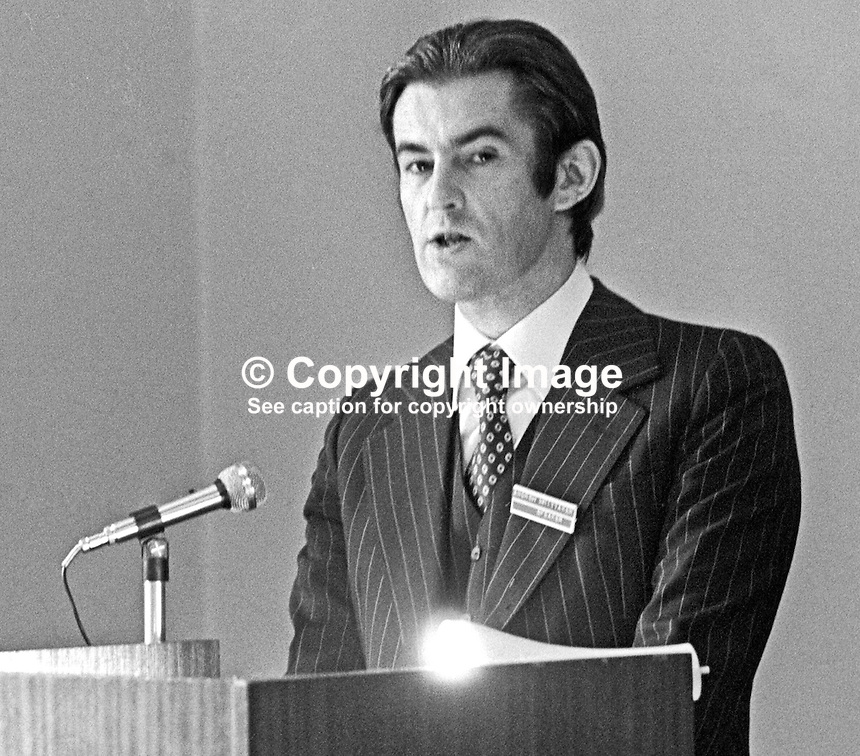 Andrew Whittaker, Irish Times, Dublin, Rep of Ireland, addresses N Ireland accountants' conference in the Slieve Donard Hotel, Newscastle, N Ireland, 4th October 1975. 197510040681a<br />