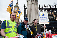 Public sector strikes over pension cuts. 10-5-12 Members of the PCS, UNITE, NUT and RMT Trade Unions strike over cuts to their pensions.  The picket line at Parliament.
