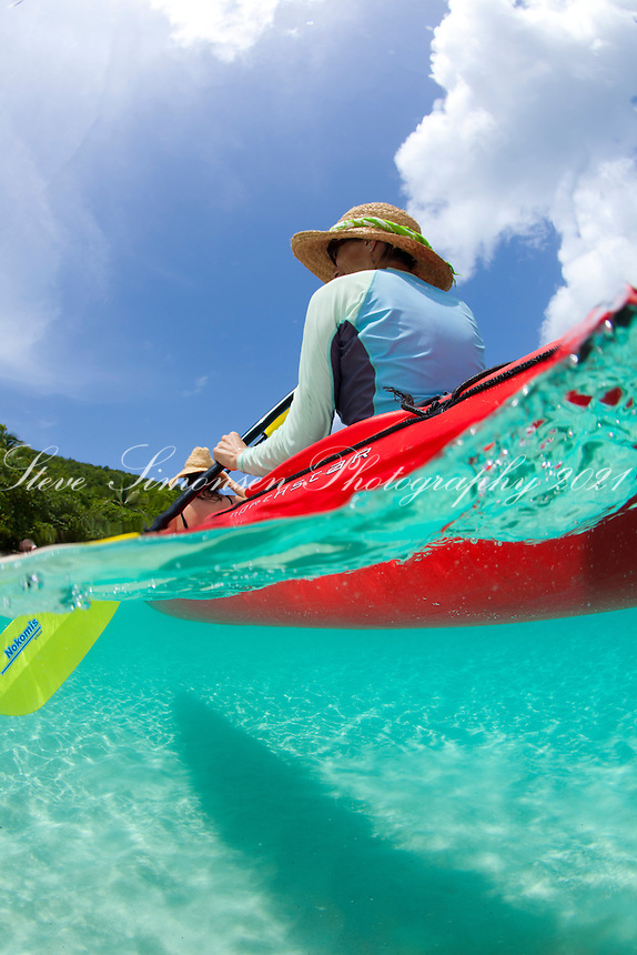 Split level kayaker<br /> Honeymoon Beach<br /> Virgin Islands National Park<br /> St. John, U.S. Virgin Islands