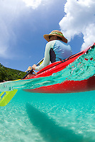 Split level kayaker<br /> Honeymoon Beach<br /> Virgin Islands National Park<br /> St. John, U.S. Virgin Islands