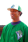 30 June 2007: Vermont Lake Monsters pitcher Alberto Tavarez warms up prior to a game against the Lowell Spinners at Historic Centennial Field in Burlington, Vermont. The Spinners defeated the Lake Monsters 8-4 in the last game of their 3-game, NY Penn-League series...Mandatory Photo Credit: Ed Wolfstein Photo