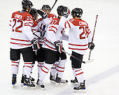 Jared Cowen (Canada - 22), ?, Gabriel Bourque (Canada - 7), Alex Pietrangelo (Canada - 27), Patrice Cormier (Canada - 28) - Team Canada defeated Team Slovakia 8-2 on Tuesday, December 29, 2009, at the Credit Union Centre in Saskatoon, Saskatchewan, during the 2010 World Juniors tournament.