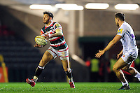 Owen Williams of Leicester Tigers passes the ball. Aviva Premiership match, between Leicester Tigers and Exeter Chiefs on March 3, 2017 at Welford Road in Leicester, England. Photo by: Patrick Khachfe / JMP