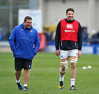 Bath Rugby first team coach Toby Booth and Charlie Ewels. Aviva Premiership match, between Worcester Warriors and Bath Rugby on February 13, 2016 at Sixways Stadium in Worcester, England. Photo by: Patrick Khachfe / Onside Images