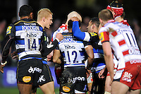 Kyle Eastmond of Bath Rugby is congratulated by team-mates after a strong defensive shift. Aviva Premiership match, between Bath Rugby and Gloucester Rugby on February 5, 2016 at the Recreation Ground in Bath, England. Photo by: Patrick Khachfe / Onside Images