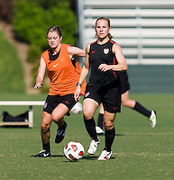 Amy Rodriguez, Sinead Farrelly. The USWNT practice at WakeMed Soccer Park in preparation for their game with Japan.