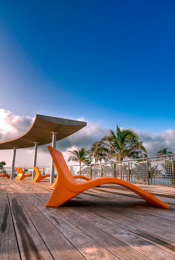 View of elevated deck in South Pointe Park, in Miami Beach, Florida.
