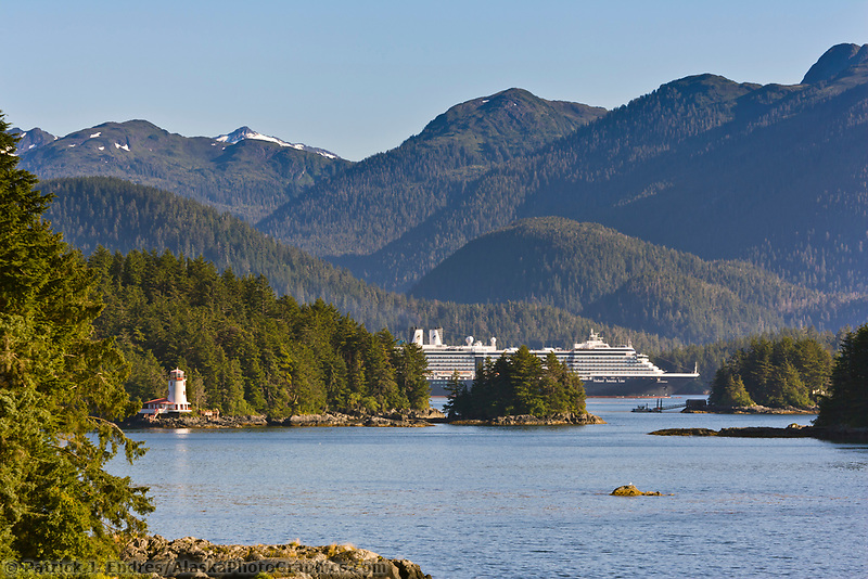 Holland America cruise ship Oosterdam, Rockwell lighthouse, in Sitka Sound, Sitka, southeast, Alaska.