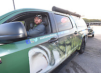 NWA Democrat-Gazette/FLIP PUTTHOFF <br /> FLW pro Matt Arey of North Carolina launches his boat early Tuesday April 25 2017 at Prairie Creek park for the final practice day of the Walmart FLW Tour bass tournament at Beaver Lake. Arey is the only angler to win back to back FLW tournaments at Beaver Lake. He won in 2014 and 2015.