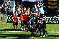 Daniel Cruz (44) of the Philadelphia Union celebrates scoring with teammates  during the second half against the Seattle Sounders. The Philadelphia Union and the Seattle Sounders played to a 2-2 tie during a Major League Soccer (MLS) match at PPL Park in Chester, PA, on May 4, 2013.