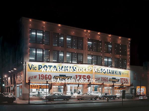 Vic Potamkin Chevrolet Car Dealership at night PA - 1960