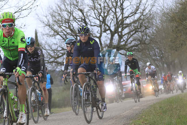 The peloton including Rigoberto Uran Cannondale-Drapac and Carlos Betancur (COL) Movistar Team on gravel sector 4 Commune di Murlo during the 2017 Strade Bianche running 175km from Siena to Siena, Tuscany, Italy 4th March 2017.<br /> Picture: Eoin Clarke | Newsfile<br /> <br /> <br /> All photos usage must carry mandatory copyright credit (&copy; Newsfile | Eoin Clarke)