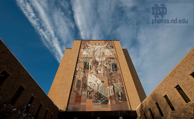 January 3, 2012; The Word of Life Mural, &quot;Touchdown Jesus&quot; on the south side of the Hesburgh Library. Photo by Barbara Johnston/University of Notre Dame.