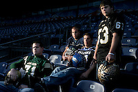 The 2007 Rocky Mountain News All-Colorado football offensive linemen: from left - Jeremiah Sirles (Bear Creek), Andrew Sampson (Overland), Nick Williams (Highlands Ranch) and Trevor Soole (Monarch). Not pictured, Bryce Givens (Mullen).  Invesco Field, Monday, Dec. 11, 2007..(JAVIER MANZANO / THE ROCKY MOUNTAIN NEWS)
