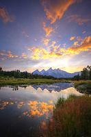 Teton Summer Sunset  - Wyoming (vertical) Pond reflection