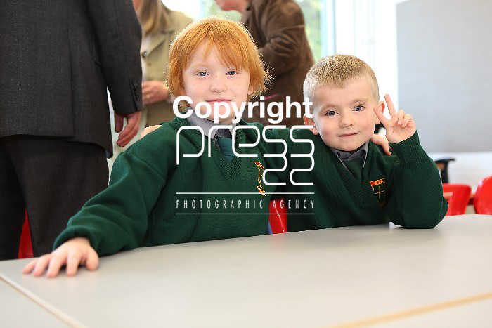 EXAM 3/9/2012    Photographed on their first day at their new school John F. Kennedy NS on the Ennis road, Limerick were John Michael Woulfe(7) and Cian McKillican(8). Photograph Liam Burke/Press 22