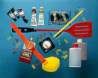 PETROLEUM PRODUCTS IN THE HOUSEHOLD<br /> Polymers: Acrylic paint, tape cassette, paperclips, toothbrush, plastic spatula; polyethylene bottles, plastic scrubber, plastic timer, plastic watch, household oil are all made from petroleum