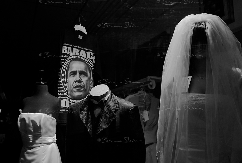 Lynchburg, VA, USA, October 24, 2008.An Obama T-shirt in the window of a wedding dress shop...
