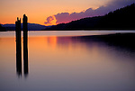 Idaho, North, Kootenai County, Coeur d'Alene. Twilight colors reflect in the waters of Lake Coeur d'Alene.