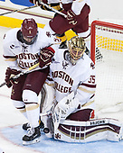Casey Fitzgerald (BC - 5), Ryan Edquist (BC - 35) - The Boston College Eagles defeated the visiting Colorado College Tigers 4-1 on Friday, October 21, 2016, at Kelley Rink in Conte Forum in Chestnut Hill, Massachusetts.The Boston College Eagles defeated the visiting Colorado College Tiger 4-1 on Friday, October 21, 2016, at Kelley Rink in Conte Forum in Chestnut Hill, Massachusett.