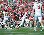 Arkansas wide receiver Joe Adams (3) breaks free on a 67 yard pass reception vs. Ole Miss at Vaught-Hemingway Stadium in Oxford, Miss. on Saturday, October 22, 2011. .
