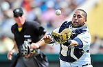 9 March 2012: Detroit Tigers catcher Omir Santos makes a catch during a Spring Training game against the Philadelphia Phillies at Joker Marchant Stadium in Lakeland, Florida. The Phillies defeated the Tigers 7-5 in Grapefruit League action. Mandatory Credit: Ed Wolfstein Photo