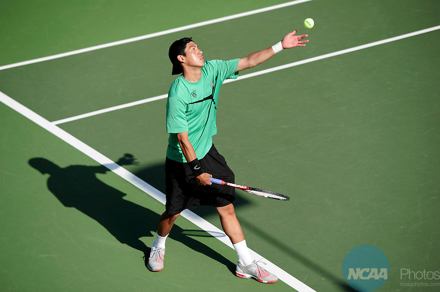 26 MAY 2011: Issac Stein of Washington University serves the ball against Felix Sun of Williams during the Division III Men's Tennis Championship held at the Biszantz Family Tennis Center and Pauley Tennis Complex in Claremont, CA. Stephen Nowland/NCAA Photos