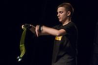Konstantin Tudjarov of Bulgaria competes during the Yoyo European Championships in Budapest, Hungary on February 24, 2013. ATTILA VOLGYI