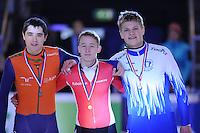 SHORTTRACK: AMSTERDAM: 05-01-2014, Jaap Edenbaan, NK Shorttrack, podium 1000m, Heren Junior B, Koen Slootweg, Jelmer Kooistra, Hessel Koot, ©foto Martin de Jong