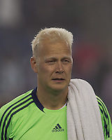 Sporting Kansas City goalkeeper Jimmy Nielsen (1). In a Major League Soccer (MLS) match, the New England Revolution defeated Sporting Kansas City, 3-2, at Gillette Stadium on April 23, 2011.