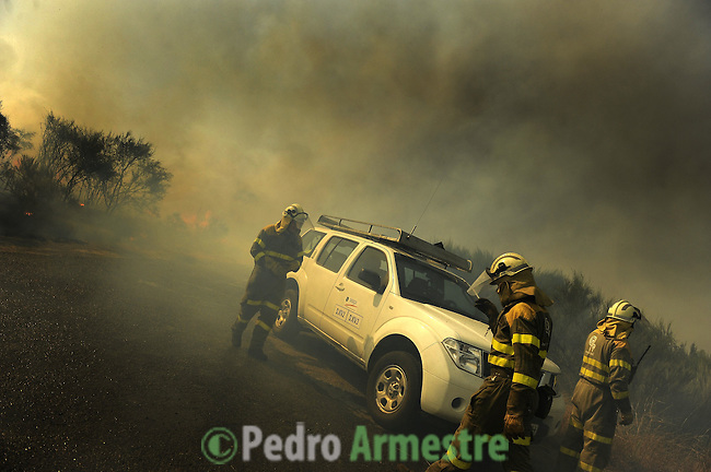 Members of the fire brigade work around the area where a fire burns in Cualedro, near Ourense, on August 10, 2010. (c) Pedro ARMESTRE