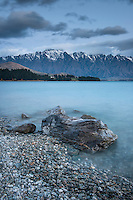 Blue hour over Lake Wakatipu and Remarkables mountains, Central Otago, New Zealand