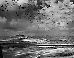 October 26, 1942 - The terrible beauty of a sky filled with flak above the USS Enterprise in the Battle of the Santa Cruz Islands. A bomb strikes the water immediately astern of the Enterprise as Japanese bombers pull out of their dives overhead.