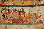 Nubian boat scene,  Black Pharaohs, Nubians, Egypt, Luxor, Tomb of Huy, Viceroy of Kush under Tutankhamun, Offerings from Nubia by Nubians, New Kingdom