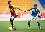 St Johnstone v Partick Thistle&hellip;29.10.16..  McDiarmid Park   SPFL<br />Callum Booth and Richie Foster<br />Picture by Graeme Hart.<br />Copyright Perthshire Picture Agency<br />Tel: 01738 623350  Mobile: 07990 594431