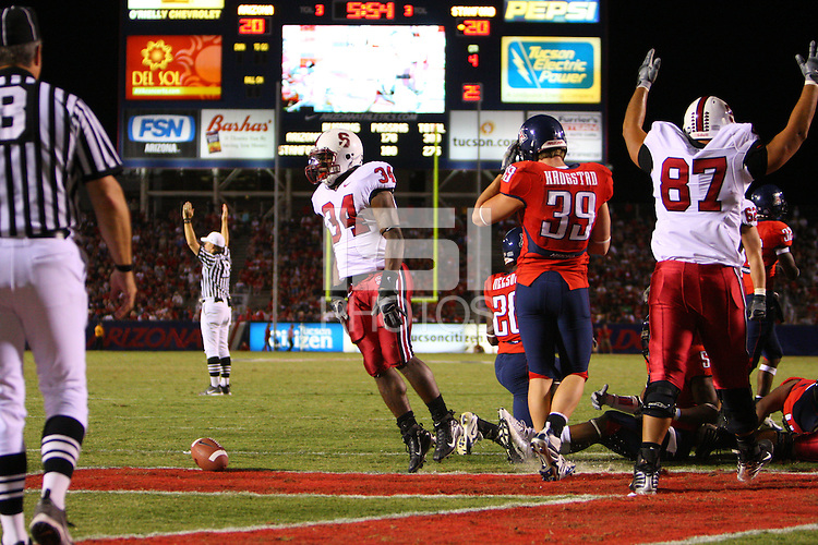 20 October 2007: Stanford Cardinal Jeremy Stewart (34) and Matt Kopa (87) during Stanford's 21-20 win against the Arizona Wildcats at Arizona Stadium in Tucson, AZ.