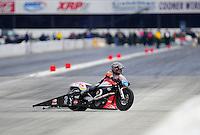 Nov. 12, 2011; Pomona, CA, USA; NHRA pro stock motorcycle rider Eddie Krawiec during qualifying at the Auto Club Finals at Auto Club Raceway at Pomona. Mandatory Credit: Mark J. Rebilas-.