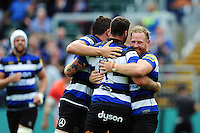 Bath Rugby players congratulate Matt Banahan on his try. Aviva Premiership match, between Bath Rugby and Newcastle Falcons on September 10, 2016 at the Recreation Ground in Bath, England. Photo by: Patrick Khachfe / Onside Images