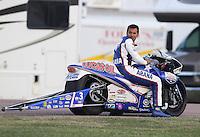 Apr. 26, 2013; Baytown, TX, USA: NHRA pro stock motorcycle rider Hector Arana Jr during qualifying for the Spring Nationals at Royal Purple Raceway. Mandatory Credit: Mark J. Rebilas-