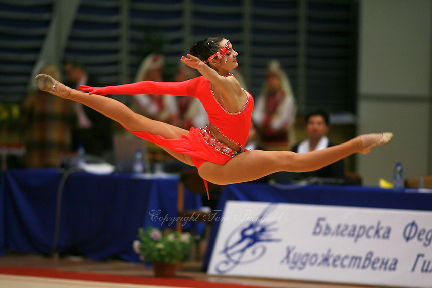 Anna Bessonova of Ukraine split leaps during gala exhibition at 2006 Burgas Grand Prix from Burgas, Bulgaria on May 7, 2006.  (Photo by Tom Theobald)