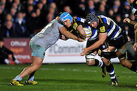 David Denton of Bath Rugby takes on the Northampton Saints defence. Aviva Premiership match, between Bath Rugby and Northampton Saints on December 5, 2015 at the Recreation Ground in Bath, England. Photo by: Patrick Khachfe / Onside Images