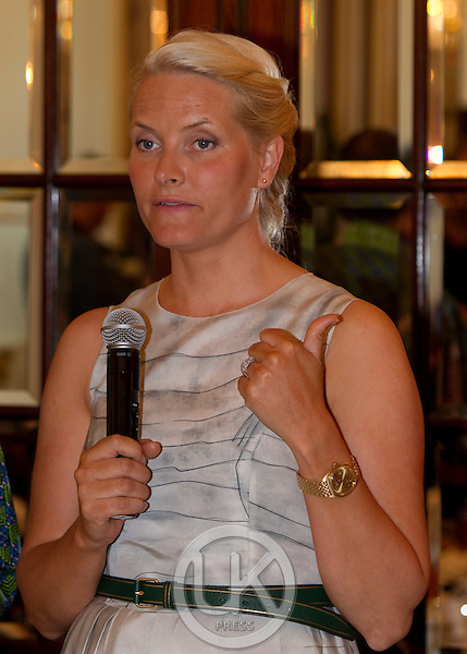 """Crown Princess Mette Marit of Norway on a three day visit to Vienna to attend the 18th International UNAIDS Conference, attends a  Dialogue on """" New Generation Leadership """"  of the """" UNAIDS youth mentorship Hub """" at The Hotel Sacher"""