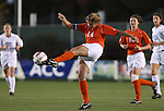 Clemson's Kelly Schneider clears the ball on Friday, November 3rd, 2006 at SAS Stadium in Cary, North Carolina. The University of North Carolina Tarheels defeated the Clemson University Tigers 3-0 in Atlantic Coast Conference Women's Soccer Championship semifinal game.