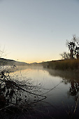 Landscape image of pond at early morning