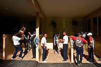 Grooms and their horses before the start of a race. Champ de Mars racecourse in Port Louis.