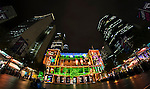 The Customs House building in Circular Quay illuminated during the 2016 Vivid Light Festival