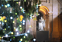 San Paul statue the Christmas tree on St Peter's square during the lighting ceremony at the Vatican, 16 December 2011.