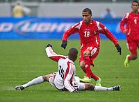 CARSON, CA - March 25, 2012: Manuel Asprilla (18) of Panama during the Panama vs Trinidad & Tobago match at the Home Depot Center in Carson, California. Final score Panama 1, Trinidad & Tobago 1.