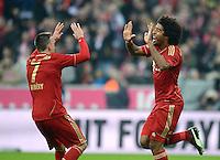 FUSSBALL   1. BUNDESLIGA  SAISON 2012/2013   13. Spieltag FC Bayern Muenchen - Hannover 96     24.11.2012 Jubel nach dem Tor zum 4:0 durch Dante mit Franck Ribery (v. re., FC Bayern Muenchen)
